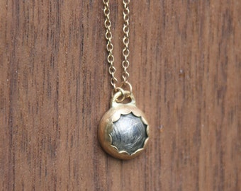 Tiny Gold Dome Necklace, 14k gold, sterling silver