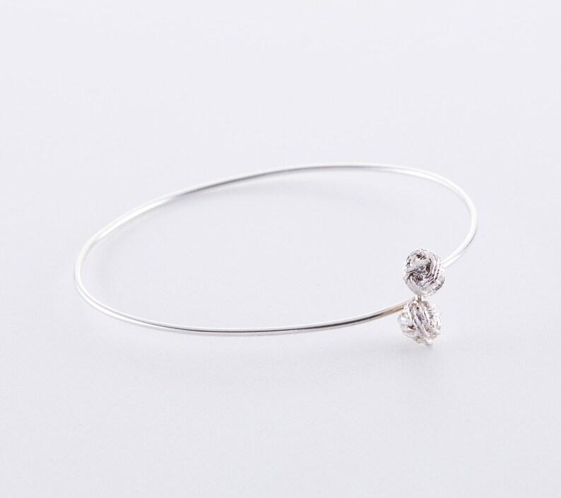 Fine wool ballerina bangle cuff made of 925 silver rose gold image 0