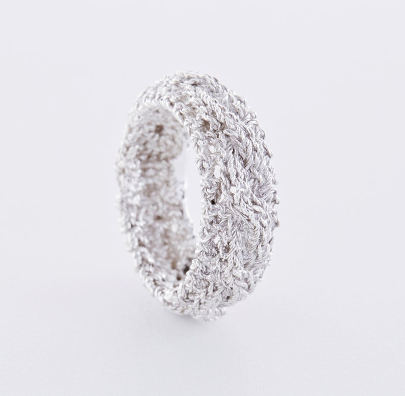 Knitted jewelry: braid pattern ring made of 925 silver rose Silver