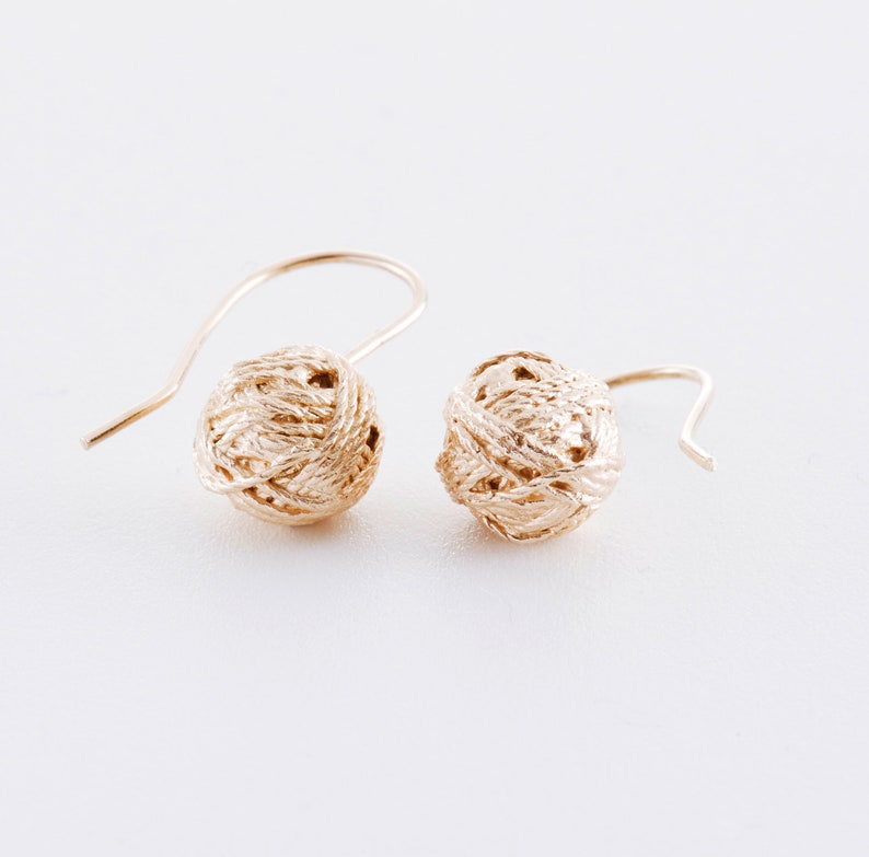 Wool ball earrings made of 925 silver rose gold or yellow Roségold vergoldet