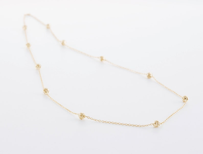 Wool ball necklace 70 cm long in silver rose gold or yellow Gelbgold vergoldet