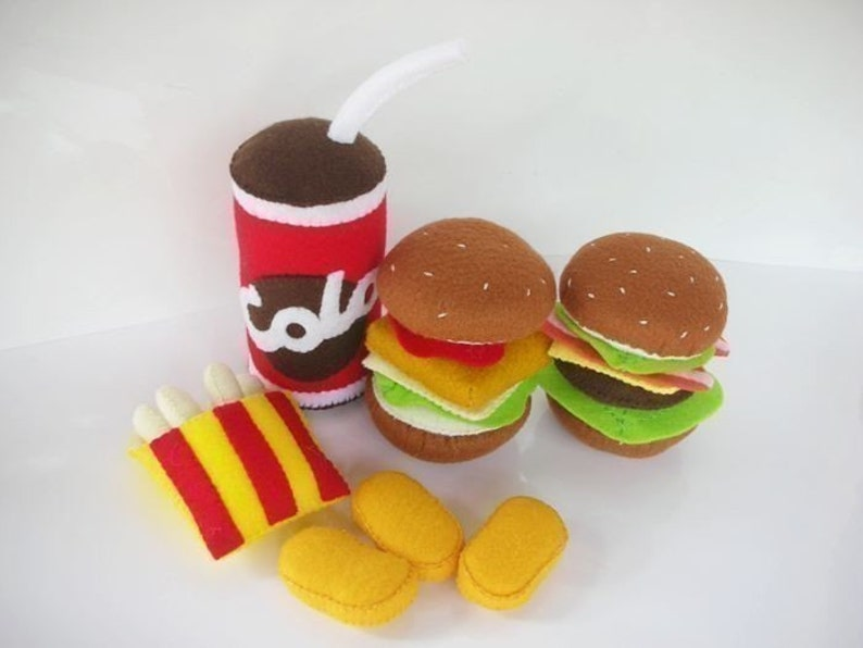 Fast Food Happy Meal Set Sewing Pattern PDF Burger French image 0