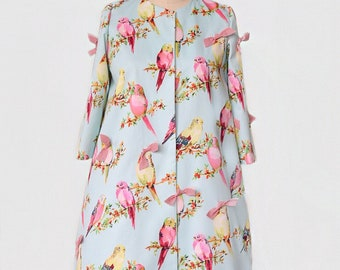Pretty Bird Pastel Coat with gingham bows