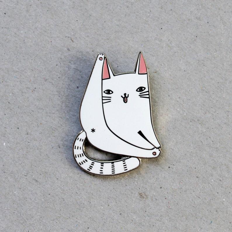 Cat forever enamel pin badge  lapel metal white cat pin image 0
