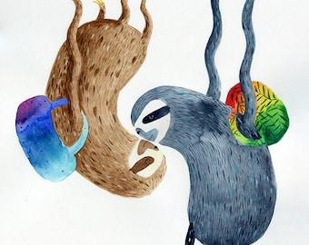Sky diving sloths A3 print