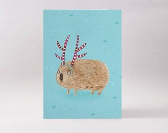 Wombat in antlers card - Christmas in Australia blank greeting card