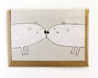 White bears card - romantic greeting card, for weddings or loved ones