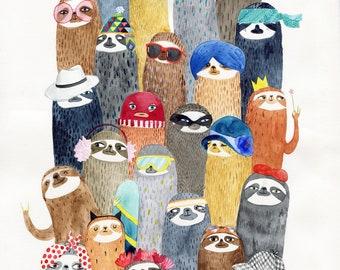Sloths sloths huge A2 print