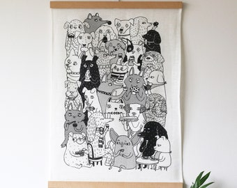 Dogs and food - screenprinted linen teatowel
