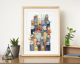 Sloths sloths A4 print - watercolor illustration print