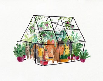 Greenhouse party A2 print, extra large print