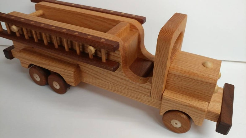 Wooden Fire truck  Handmade toys red  Oak walnut and mahogany  Heirloom Quality Beautifully handmade mahogany wheels
