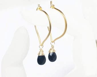 Black Spinel Gold Hoop Earrings, Briolette Gemstones, Lotus Ear Wires, Vermeil, Medium or Large