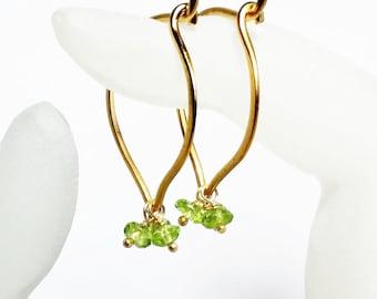 Peridot Gold Hoop Earrings, Lotus Gemstone Ear Wires, Medium or Large