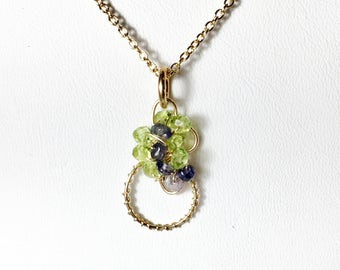 Cluster Pendant, Peridot Iolite Wire Wrapped in Gold, Gemstone Necklace, Spring Flowers