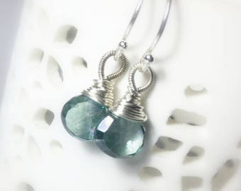 Mystic Green Quartz Drop Earrings, Petite Briolettes, minimalist, everyday earrings