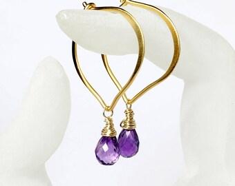 Amethyst Gold Hoop Earrings, Vermeil Lotus Ear wires, February Birthstone, Gifts for Her