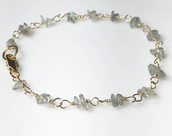 Labradorite Bracelet, Gold Fill Gemstone Chips, Gifts for her, Layering Jewelry