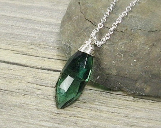 Solitire Evergreen Quartz Pendant, Sterling Silver, Everyday Necklace, Gemstone Layering, Gifts for her