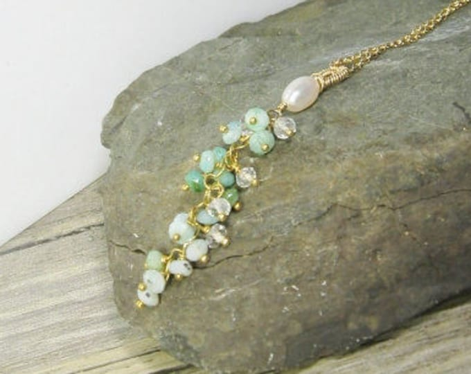 gemstone tassel necklace, amazonite, pearl, gold cluster pendant