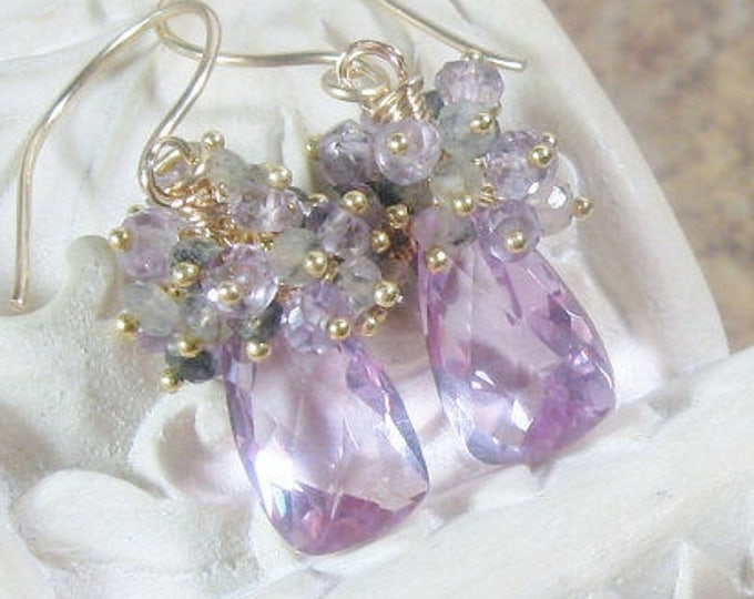 Lilac Quartz Cluster Gold Earrings