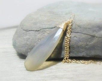 Layering Neckklace, Long Gemstone Pendant, Grey Chalcedony, Elongated, Gold Filled