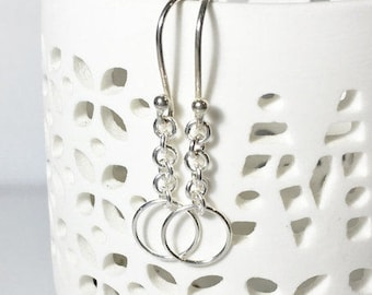Sterling Silver Dangles, Simple Everyday Earrings, Gifts for her