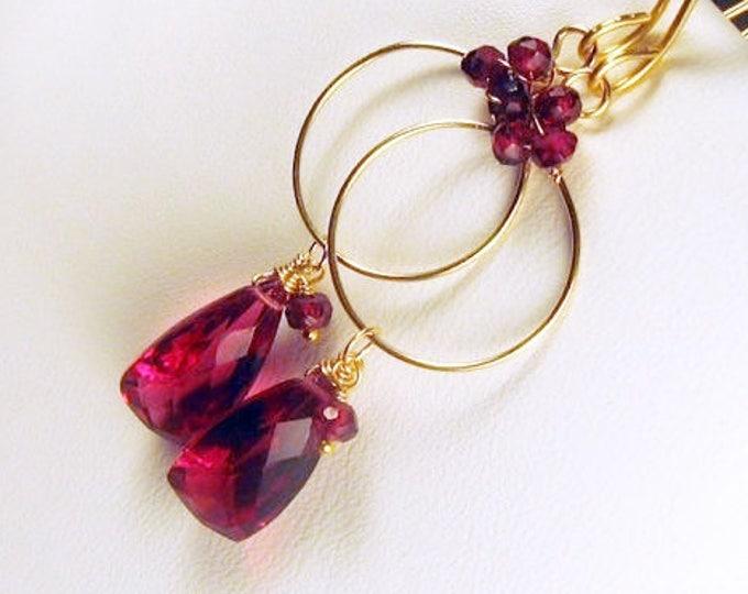 Garnet and Red Quartz Gold Filled Gemstone Hoop Earrings