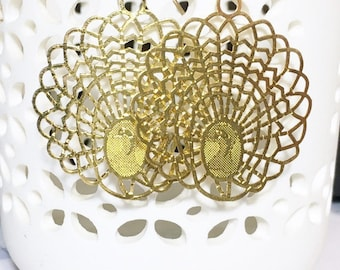 Gold Statement Earrings, Lazerlace, Plated, Large, Gifts for her, Drop Earrings