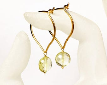 Lemon Quartz Gold Hoop Earrings, Medium or Large