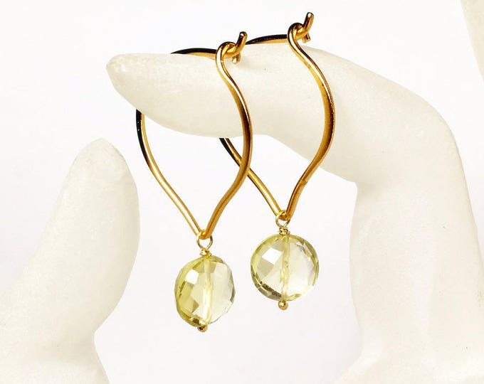 Lemon Quartz Gold Hoop Earrings, Medium or Large