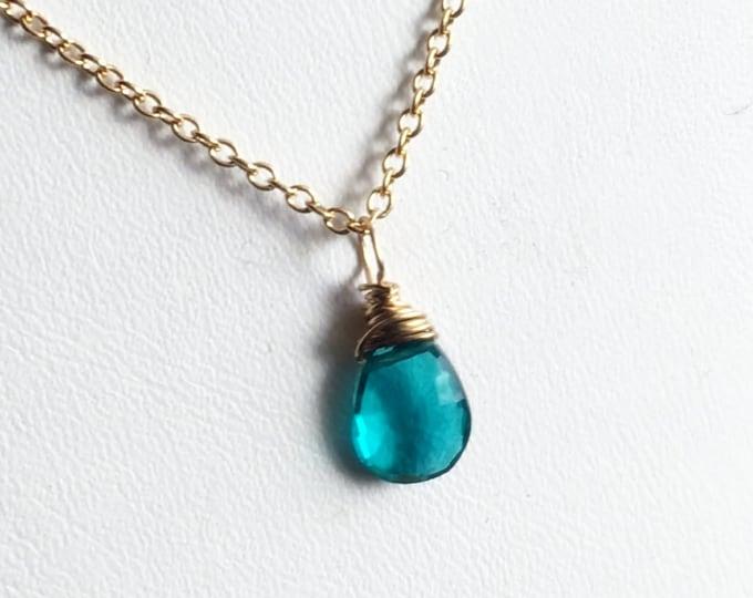 "Paraiba Blue Petite Wire Wrapped Briolette Gemstone Pendant, Gold Fill, Length 18"""