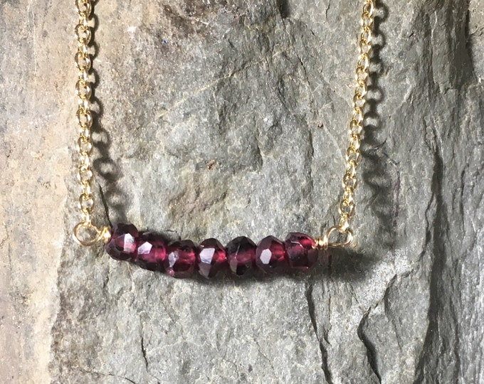 Garnet Bar Necklace, January Birthstone, Gold Garnet Necklace, Petite Garnet Gemstones, Gold Fill Length 17""