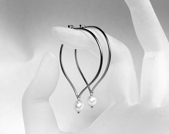 Pearl Hoop Earrings, White Pearl Lotus Petal Hoop Ear Wires, Swarovski Crystal Large Hoops, Everyday Hoops