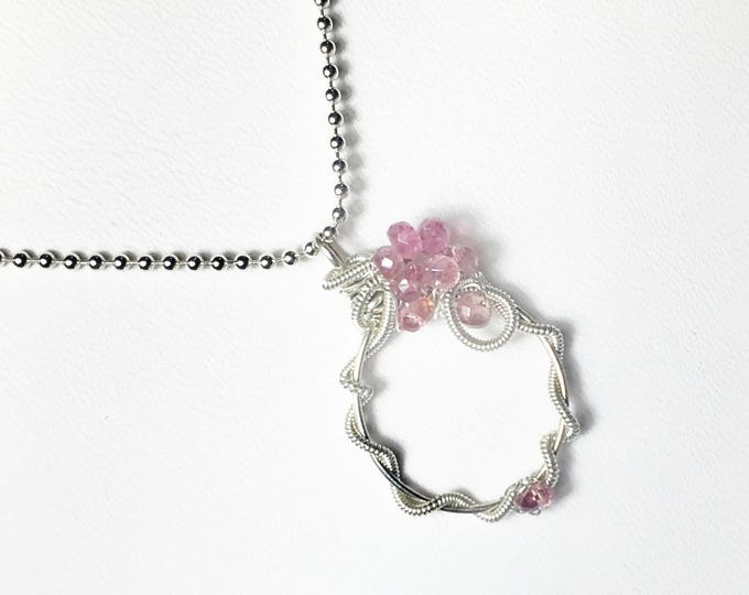Pink Tourmaline Wire Wrapped Pendant, Sterling Silver Gemstone Necklace