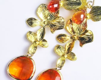 Hessonite Gold Orchid Gold Dangle Earrings