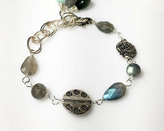 Labradorite Bali Silver Bracelet, Chalcedony, Moss Aquamarine, Multi stone Links, Gifts for Her