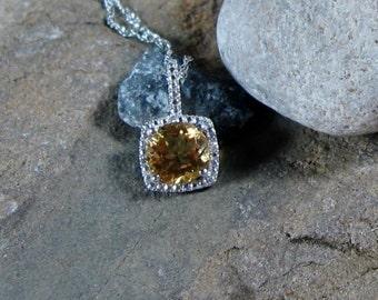 Citrine Gemstone Diamond Pendant Sterling Silver Necklace - Ready to Ship
