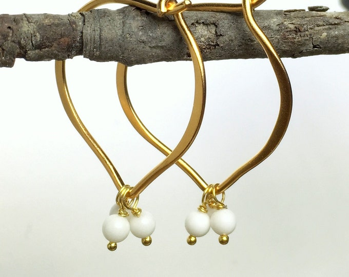 Gold Hoop Earrings, White Jade Gemstone Hoops, Vermeil Lotus, Matte Finish, Medium or Large