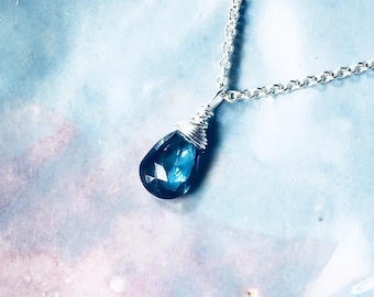 London Blue Topaz Necklace, Sterling Silver Briolette Pendant, Solitaire Gemstone, Layering Necklace, Birthstone Gift for Her