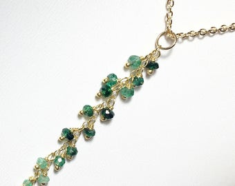 Gold Emerald Necklace, Emerald Tassel Gemstone Pendant, Gold Fill, Gifts for Her, Long Emerald Pendant, Birthstone Necklace