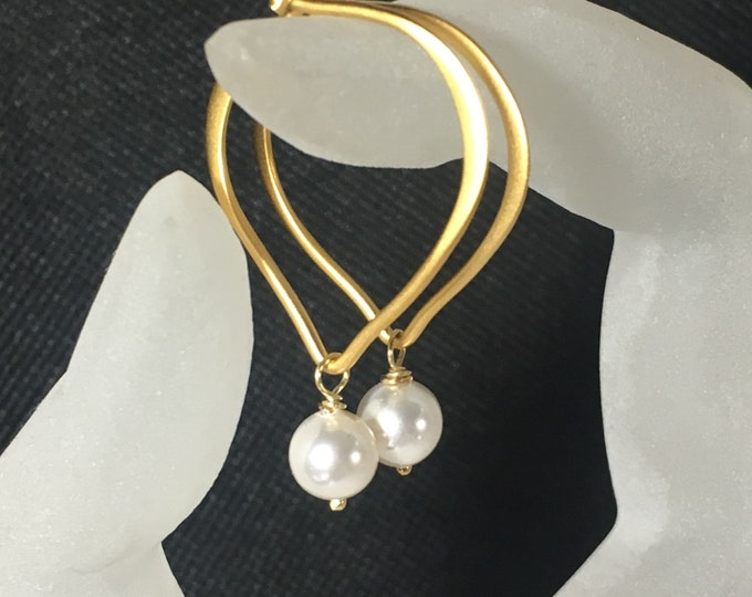"Pearl Earrings, Gold Vermeil Lotus Hoop Ear Wires, Length 1"", Gifts for Her, Bridal Earrings, Swarovski Crystal Pearls"