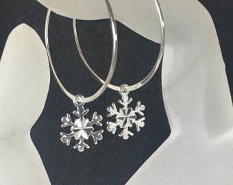 Snowflake Hoop Earrings, .925 Sterling Silver, Diamond Cut Snowflake Charms, Large Hoops, Snowflakes and Icicles