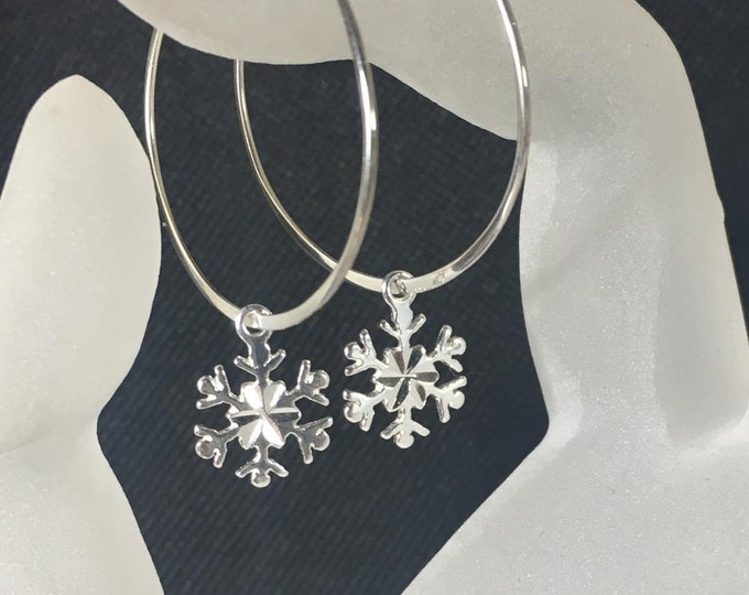 Featured listing image: Snowflake Hoop Earrings, .925 Sterling Silver, Diamond Cut Snowflake Charms, Large Hoops, Snowflakes and Icicles