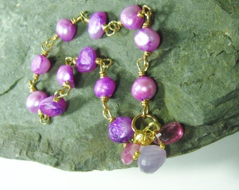 25% OFF Purple Pearl Gold Bracelet