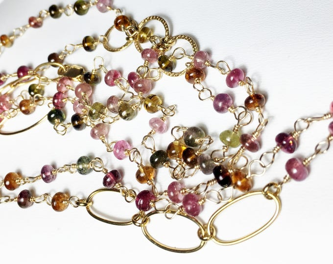 Tourmaline Necklace, Long Layering Wrap, Multi Strand Gold Bracelet
