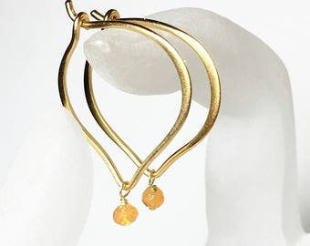 Gold Hoop Earrings, Carnelian Gemstone Lotus Ear Wires, Gifts for Her, Simple Earrings, Everyday Jewelry, Medium or Large