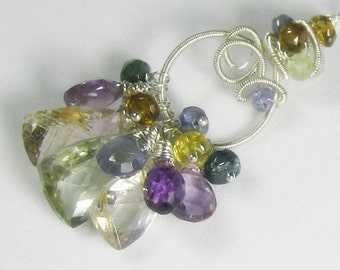 Amethyst Quartz Tourmaline Gemstone Sculptured Pendant Necklace