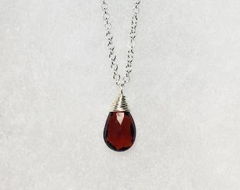 Garnet Solitaire Necklace, January Birthstone, Petite Briolette Gemstone, Garnet Pendant, Minimalist, Sterling Silver, Birthday Girl