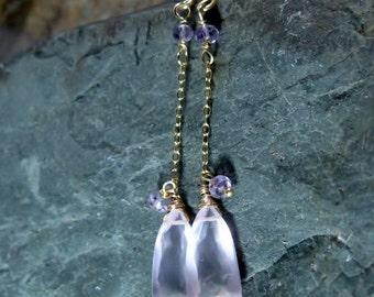 Pink Quartz Amethyst Dangle Earrings, Long Drop Earrings, Pastel Powder Pink, Gold Fill